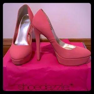 Shoedazzle Salmon Pink Romaine Platform Heels